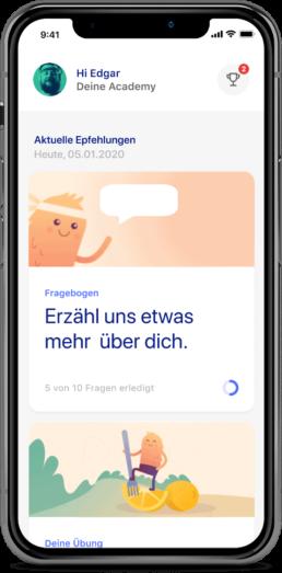 zanadio App-Ansicht: Fragebogen